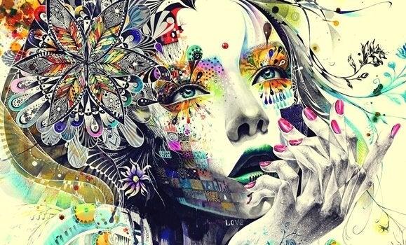 Kvinde tegnet med mandalaer