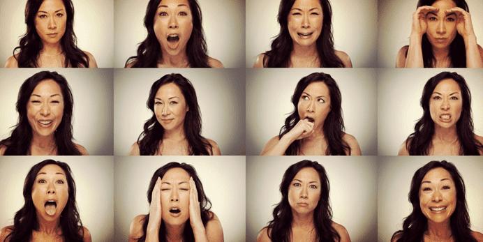 Kvinde med forskellige ansigtsudtryk illustrerer, hvad er følelser