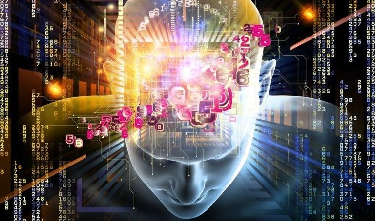Den menneskelige hjerne illustreres med farver og lys