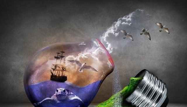 Åben pære med hav i illustrerer horisontal tænkning