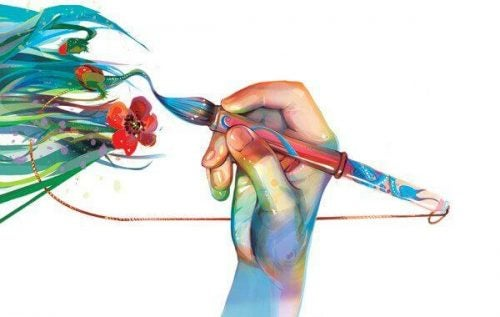 Hånd maler blomster