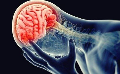 En rød hjerne illustrerer dystymi