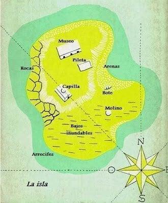 kort over øen fra bogen Morels opfindelse