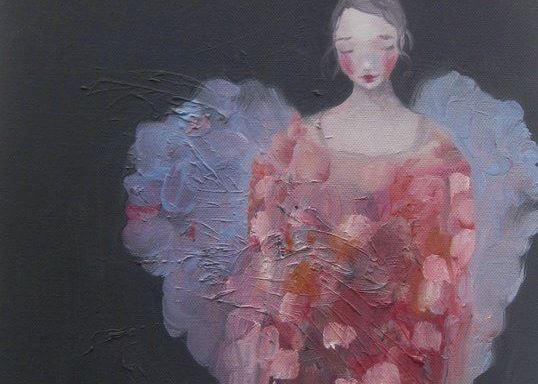 maleri af kvinde med vinger, der prøver at håndtere fortvivlelse