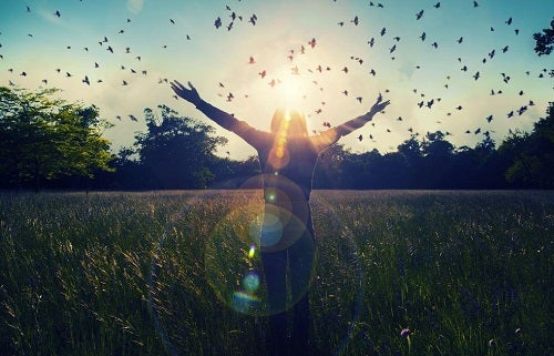 Kvinde på en mark med sommefugle