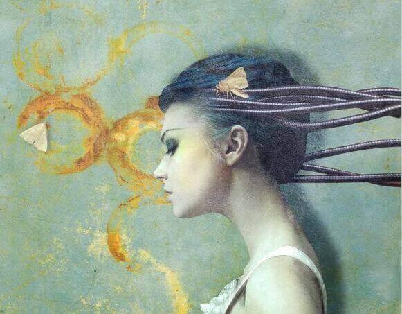 Kvinde med tanker, som kabler ud af hovedet