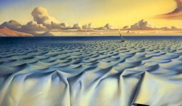 Stof danner hav med lille båd