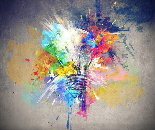 Maleri af lyspære med eksploderende farver