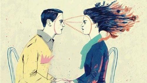 Mand der kigger på kvinde