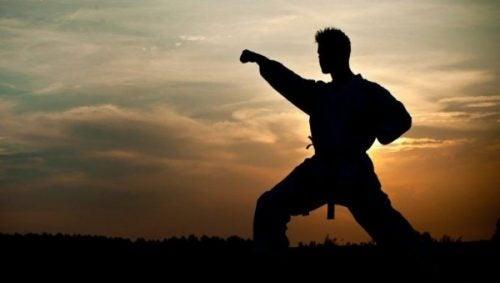 Mand, der træner kampsport