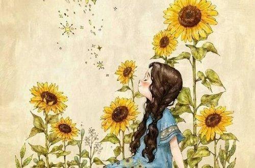 en pige nyder sommeren blandt solsikker