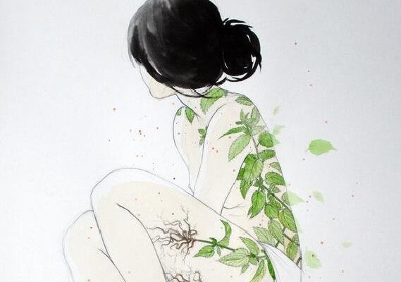 Tegning af kvinde med blade på ryg