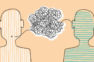 To mennesker illustrerer teorien om menneskelig kommunikation