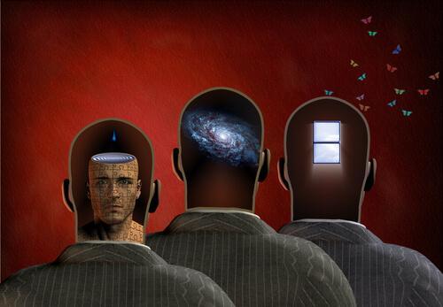 Tre mænd med henholdsvis hoved, planet og vindue som hjerne
