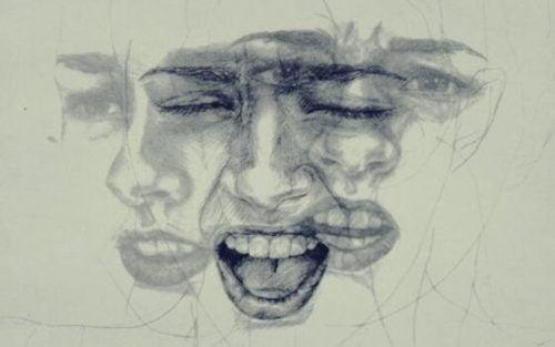 Skitse af kvindes fortvivlede ansigt