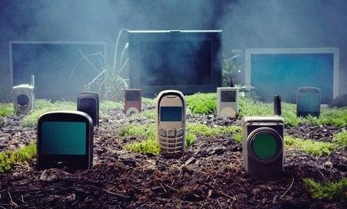 En kirkegård fyldt med gamle mobiltelefoner