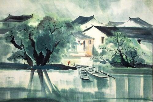 Maleri illustrerer historien om zen omkring en flod