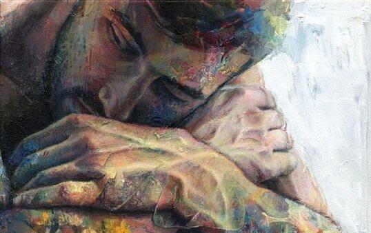 Maleri af mand, der hviler hoved på knæ