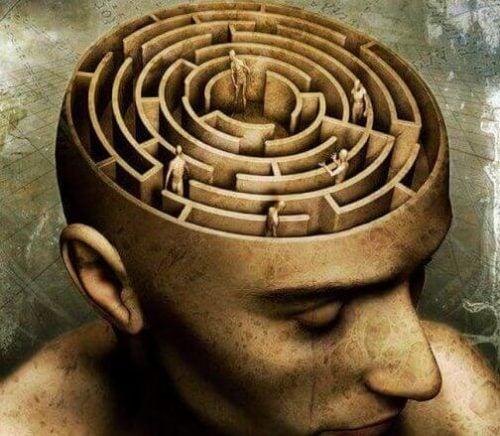 Mands bevidsthed i form af en labyrint