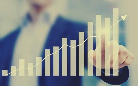 stigende graf, der repræsenterer øget produktivitet