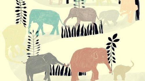 Tegning af elefanter, der går på række