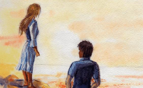Et par på stranden, som er symbol på at bruge emotionel intelligens i forhold