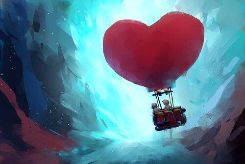 Personer flyver i luftballon med ballon formet som hjerte