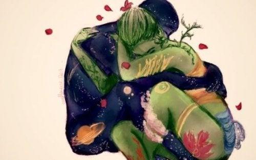 Et par omfavner hinanden og oplever den biologiske forklaring på kærligheden