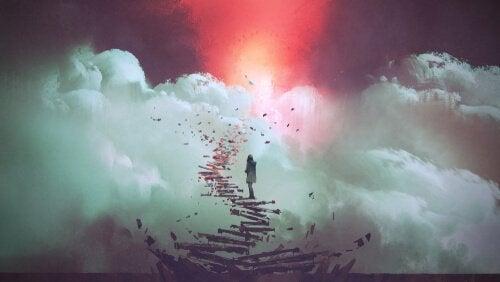 En person på en trappe til himlen