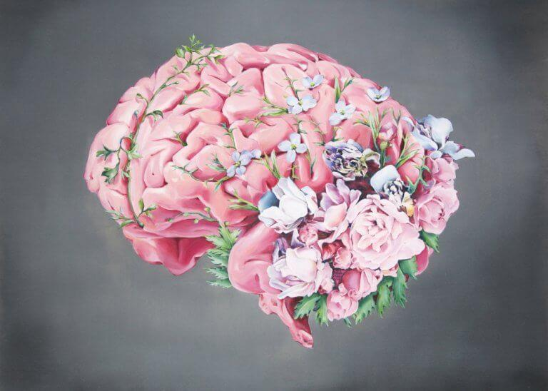 Et begavet barns hjerne har områder, der er mere udviklede end hos almindelige børn, hvilket illustreres med blomster i hjerne
