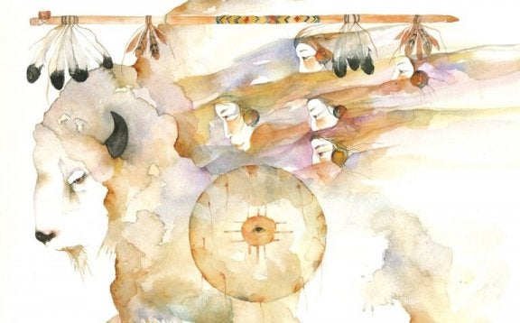Et hvidt bøffelmaleri