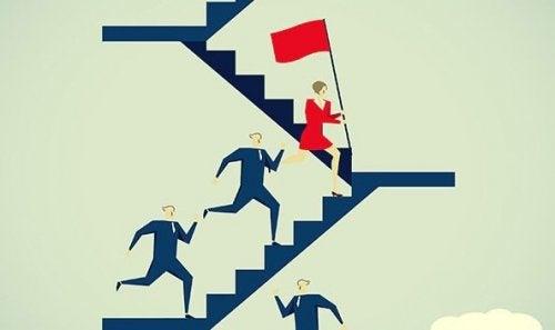 Forretningsmænd løber op af trappe efter kvinde med rødt flag