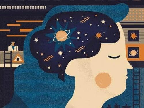 En drømmende kvinde med universet i tankerne