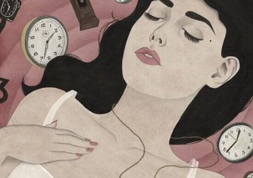 En tegning af en kvinde omringet af ure