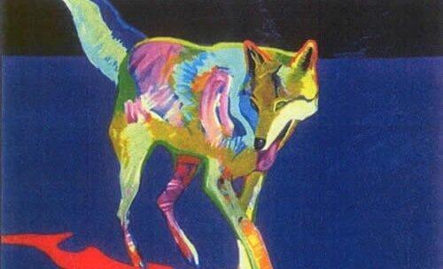 Maleri af ulv i farver