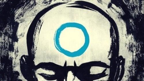 En Zen mester med en cirkel på hovedet symboliserer zen-lektioner om frygt