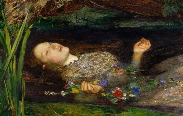 Dette kunstværk repræsenterer Ofelia fra Hamlet, der ligner Ofelia fra Pans Labyrint.