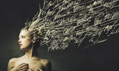 Dette billede symboliserer vigtigheden af ord, fordi de påvirker hjernen.