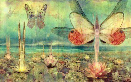 MAleri af sommerfugle, der vokser ud af lotusblomster
