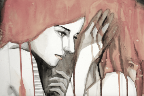 Maleri af kvinde, hvor hendes røde hår smelter ned over hende