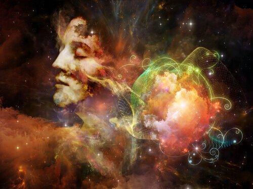 Persons rolige ansigt i univers med lys og farver