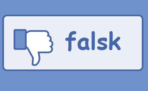 Teskten facebook er skiftet ud med teksten falsk