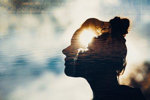 Silhuet af kvindes hoved foran sø