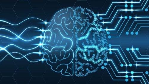 Hjerne illustreret med blå lys
