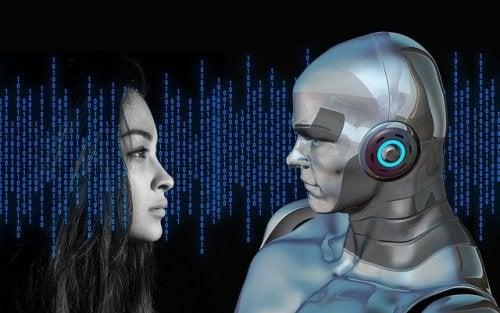 Kvinde med menneskelig robot