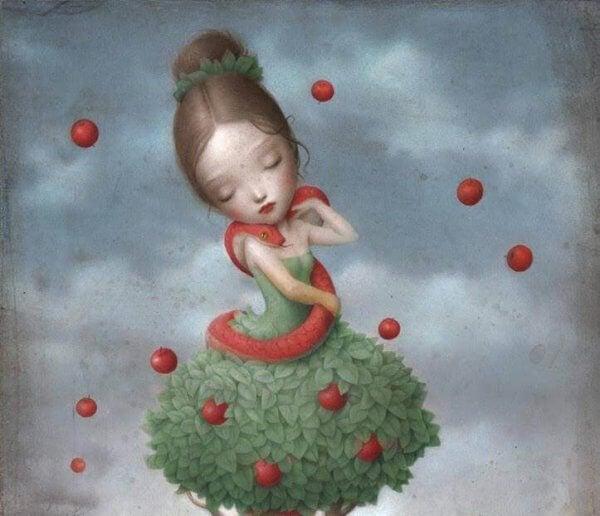 Pige i kjole af blade med æbler og slange viklet omkring sig