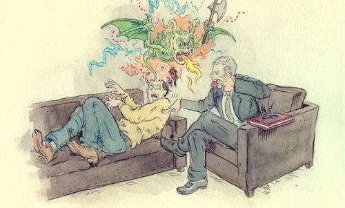 Klient hos terapeut har kæmpe drage ud af hoved