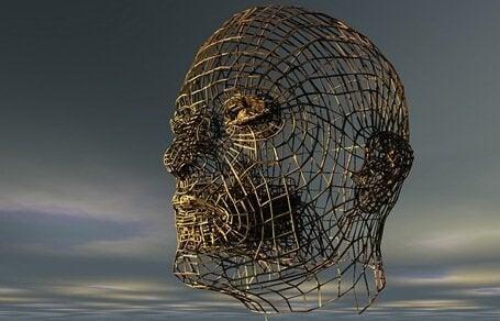 Mands hoved af jernrør