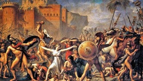 Et maleri af soldater, der angriber kvinder som symbol på forskellige former for epistemologi.