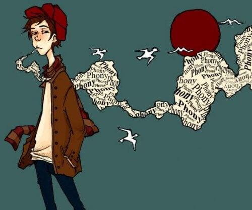 Tegning af dreng med rød hue, der ryger
